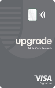 Green Upgrade card with contactless symbol and Visa logo